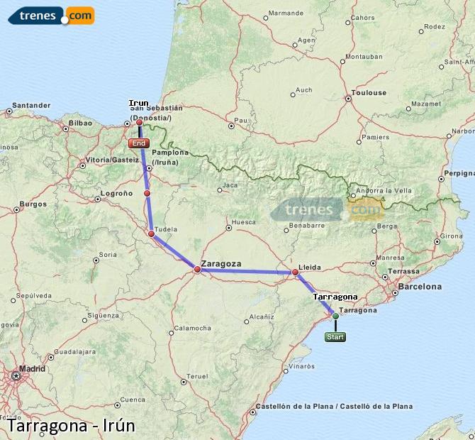 Karte vergrößern Züge Tarragona Irún