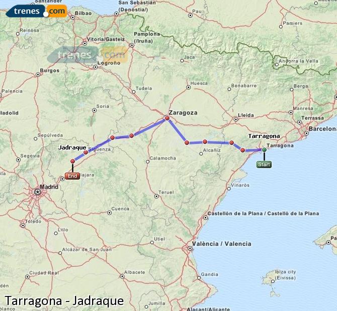 Agrandir la carte Trains Tarragone Jadraque
