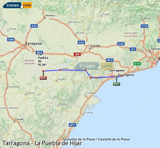 Enlarge map Trains Tarragona to La Puebla de Híjar