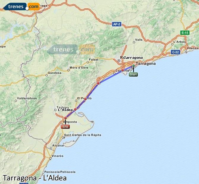 Karte vergrößern Züge Tarragona L'Aldea