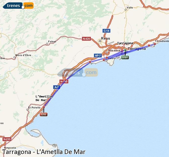 Karte vergrößern Züge Tarragona L'Ametlla De Mar