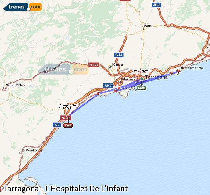 Agrandir la carte Trains Tarragone L'Hospitalet De L'Infant