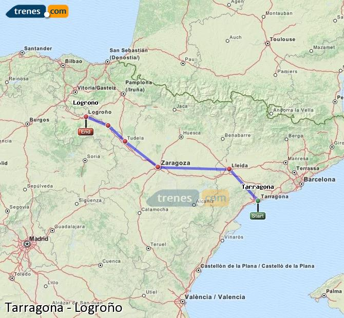 Ampliar mapa Trenes Tarragona Logroño