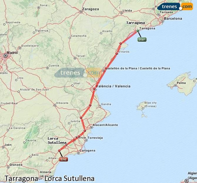 Agrandir la carte Trains Tarragone Lorca Sutullena