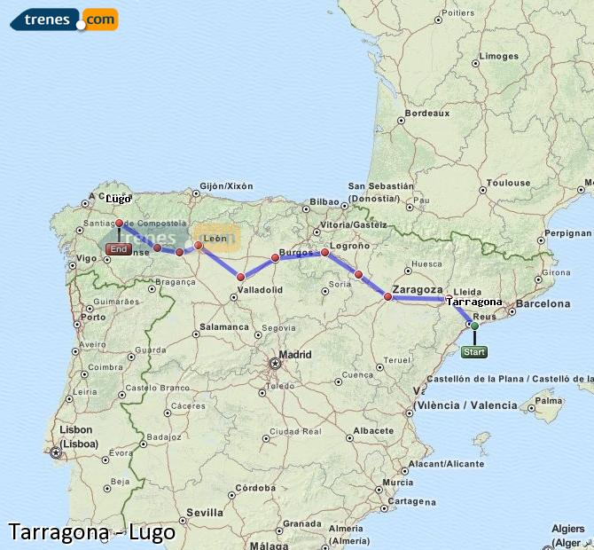 Agrandir la carte Trains Tarragone Lugo