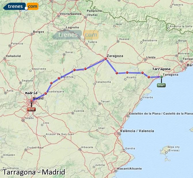 Ingrandisci la mappa Treni Tarragona Madrid