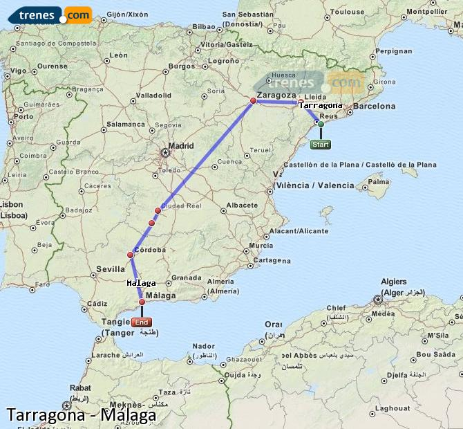 Enlarge map Trains Tarragona to Malaga