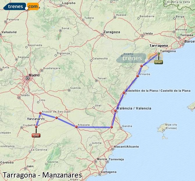 Enlarge map Trains Tarragona to Manzanares