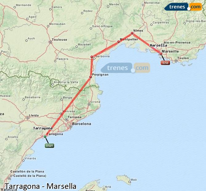Enlarge map Trains Tarragona to Marsella