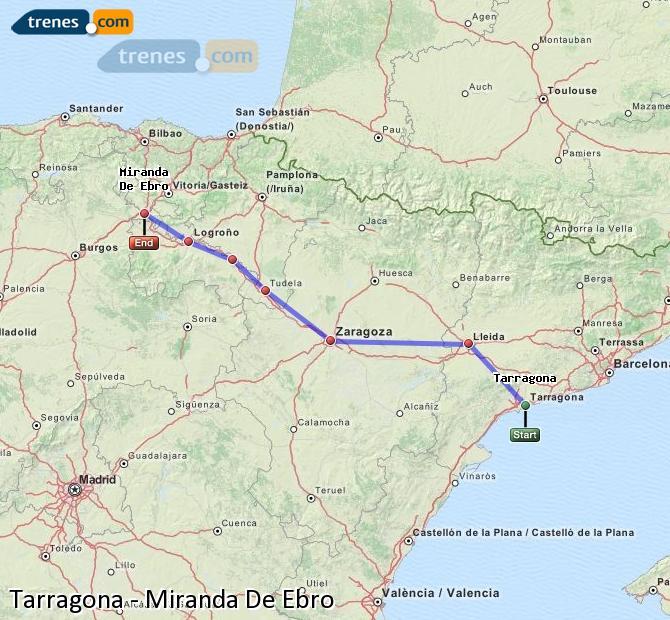 Karte vergrößern Züge Tarragona Miranda De Ebro