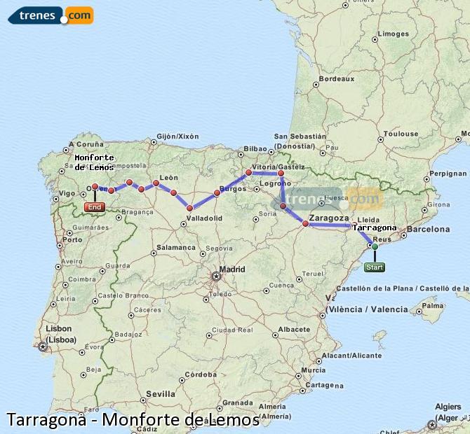 Ingrandisci la mappa Treni Tarragona Monforte de Lemos