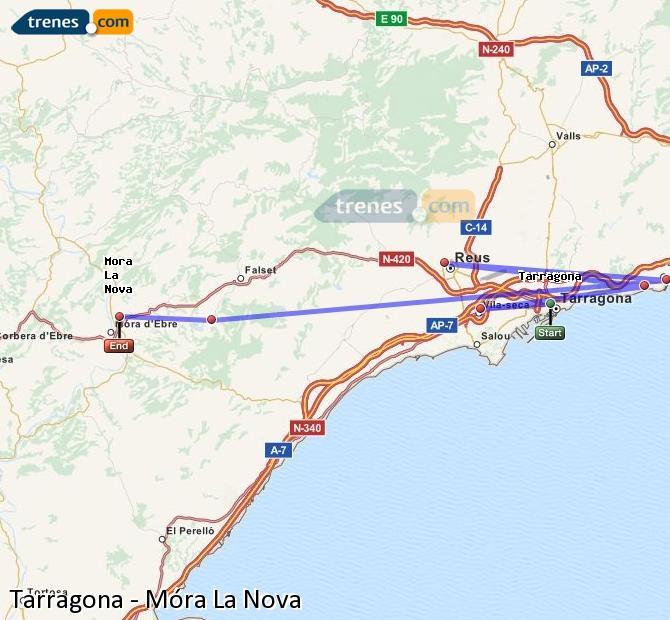 Agrandir la carte Trains Tarragone Móra La Nova