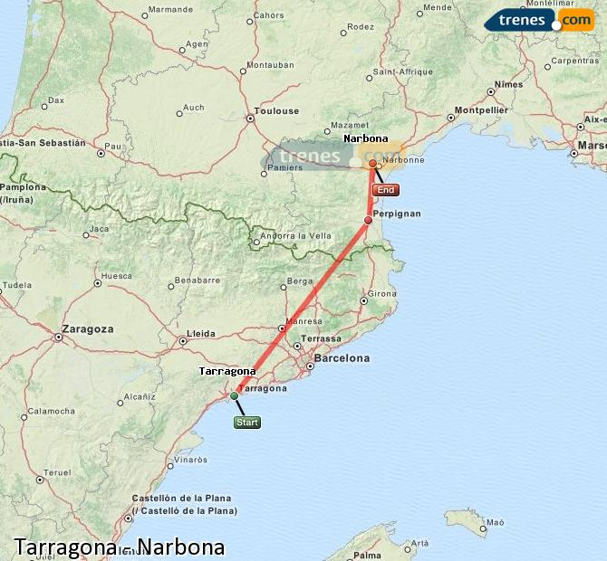 Enlarge map Trains Tarragona to Narbonne