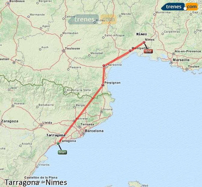 Enlarge map Trains Tarragona to Nimes