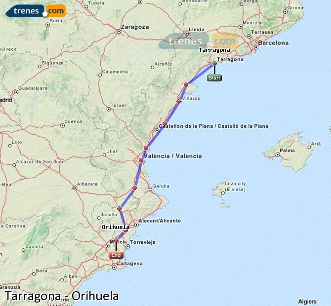 Enlarge map Trains Tarragona to Orihuela