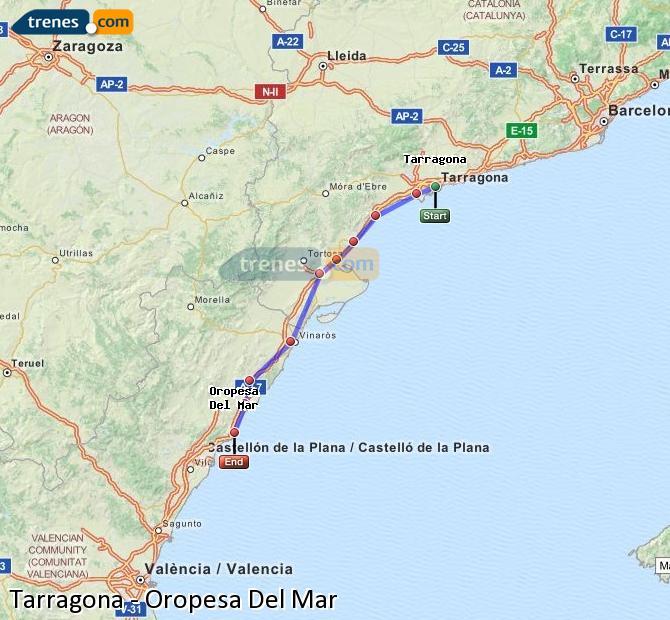 Agrandir la carte Trains Tarragone Oropesa Del Mar