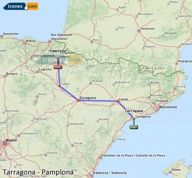 Ampliar mapa Trenes Tarragona Pamplona