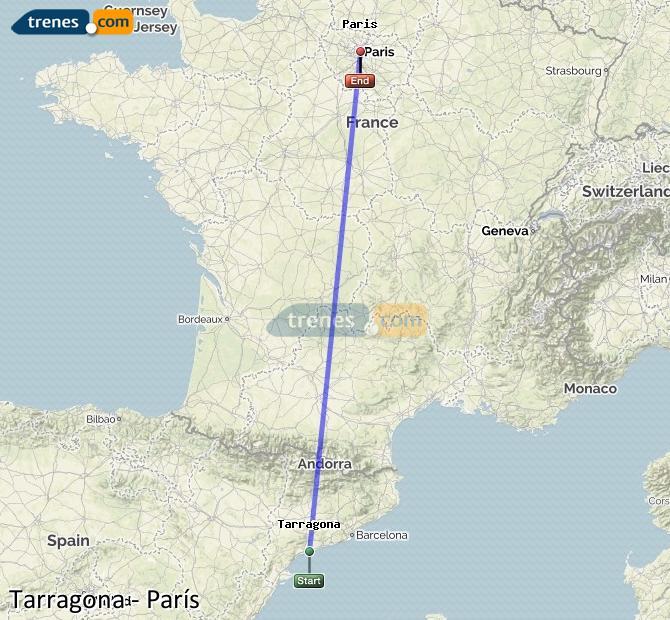Karte vergrößern Züge Tarragona Paris