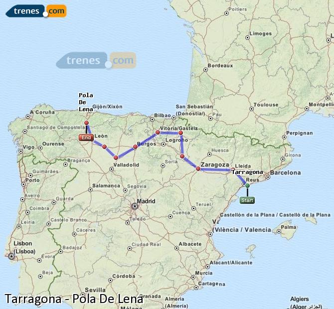 Agrandir la carte Trains Tarragone Pola De Lena