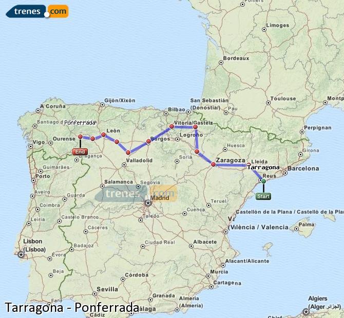 Karte vergrößern Züge Tarragona Ponferrada