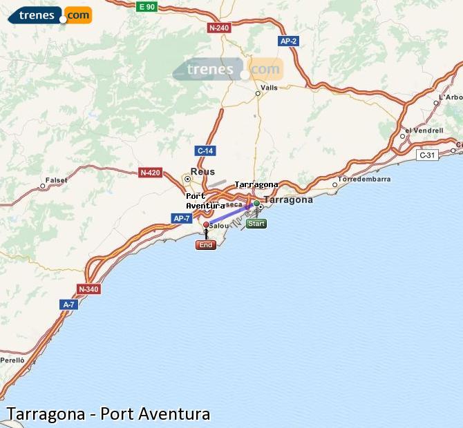 Agrandir la carte Trains Tarragone Port Aventura