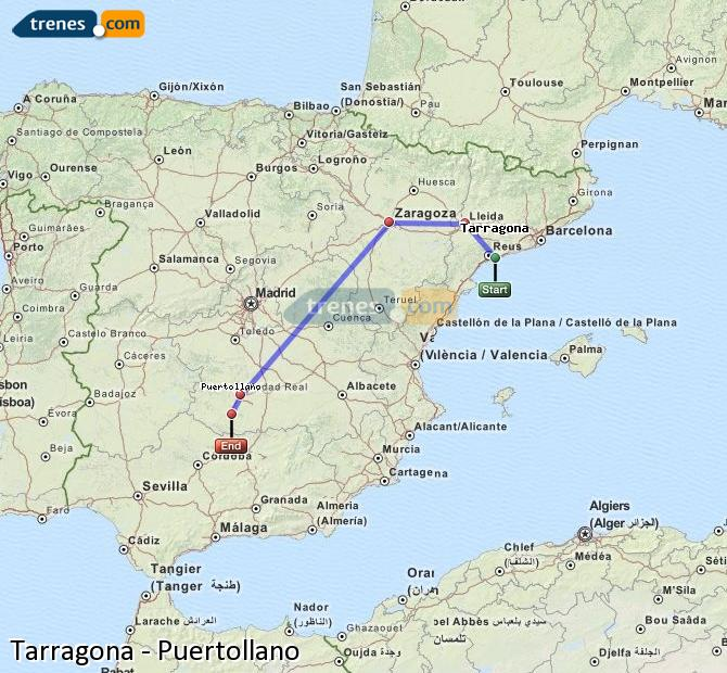 Enlarge map Trains Tarragona to Puertollano