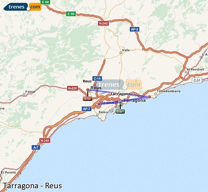 Ampliar mapa Trenes Tarragona Reus