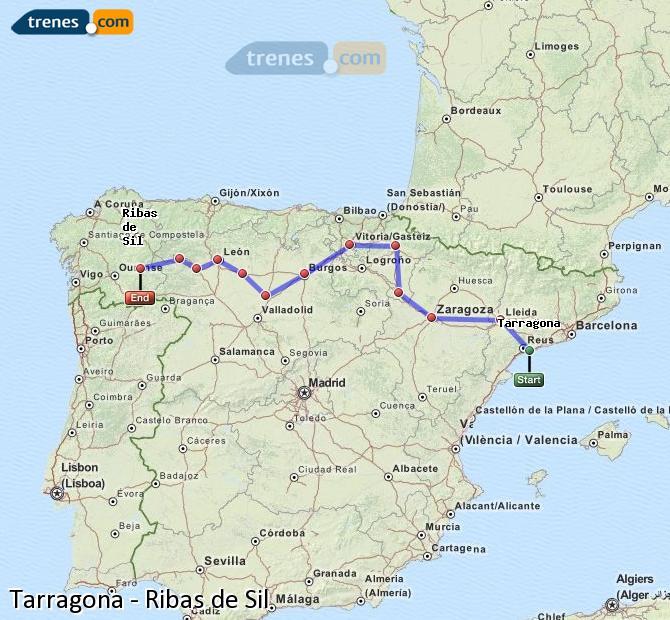 Ampliar mapa Comboios Tarragona Ribas de Sil