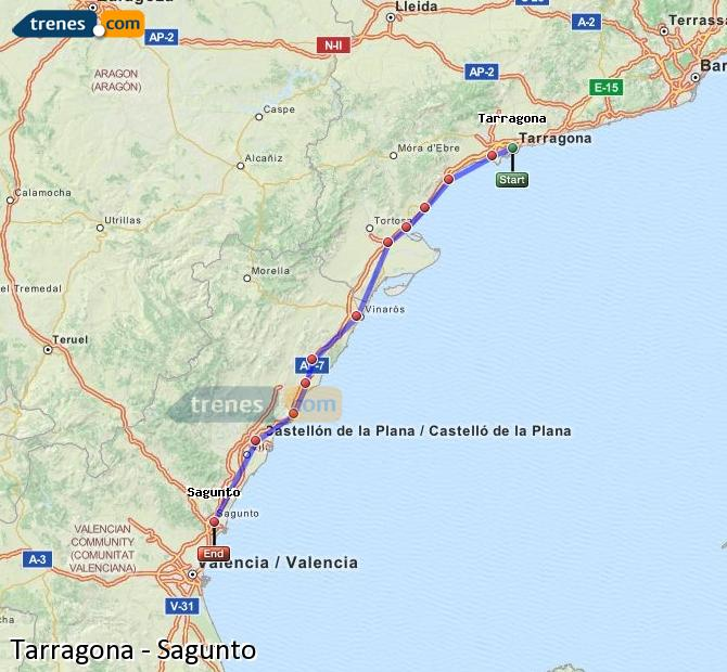 Agrandir la carte Trains Tarragone Sagunto