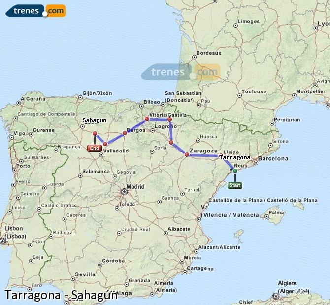 Ingrandisci la mappa Treni Tarragona Sahagún