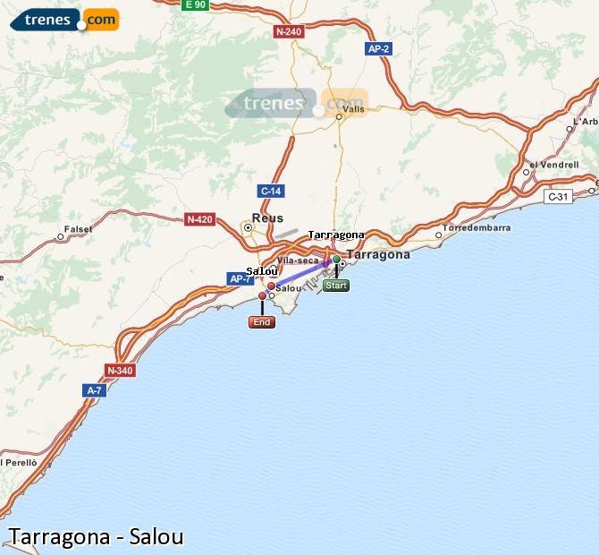 Enlarge map Trains Tarragona to Salou