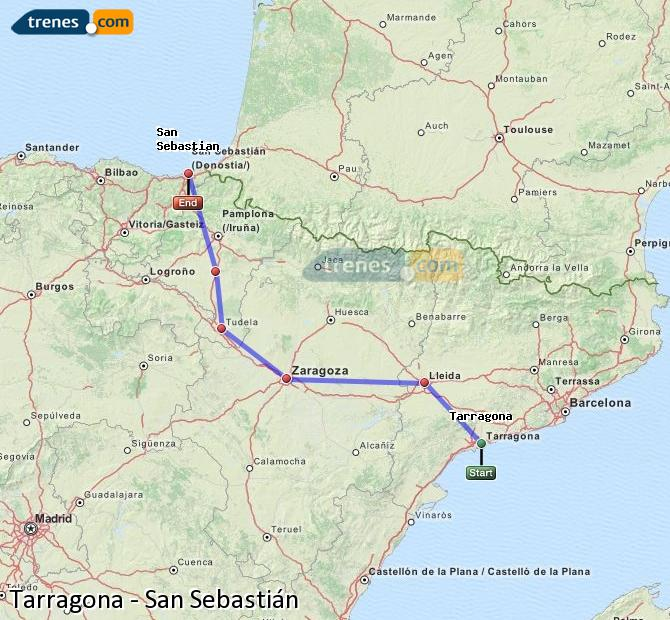 Enlarge map Trains Tarragona to Saint Sebastian
