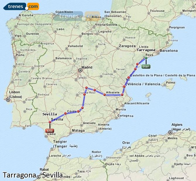 Enlarge map Trains Tarragona to Seville