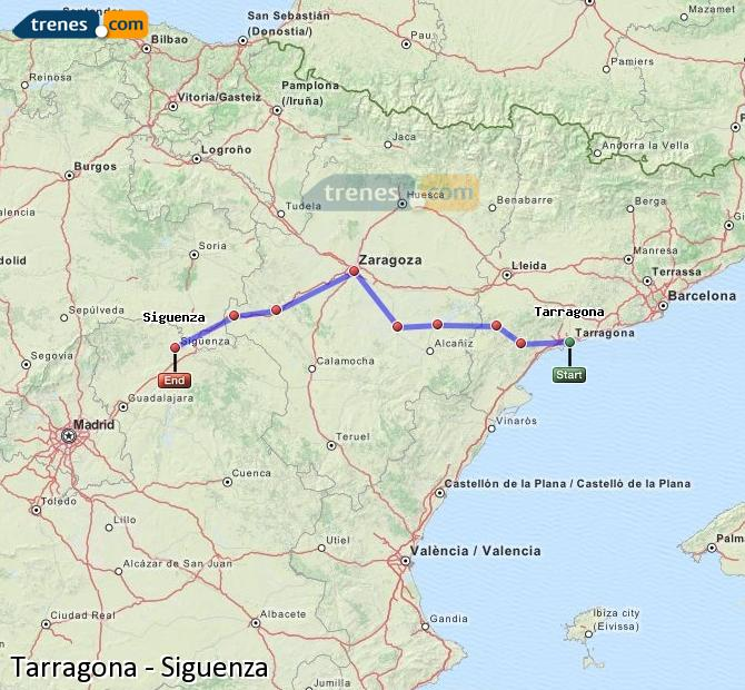 Enlarge map Trains Tarragona to Siguenza