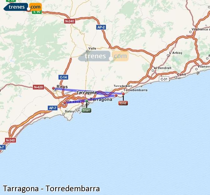 Ingrandisci la mappa Treni Tarragona Torredembarra