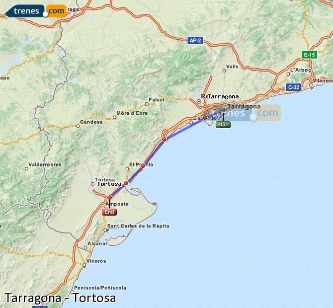 Ampliar mapa Trenes Tarragona Tortosa