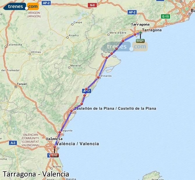 Enlarge map Trains Tarragona to Valencia