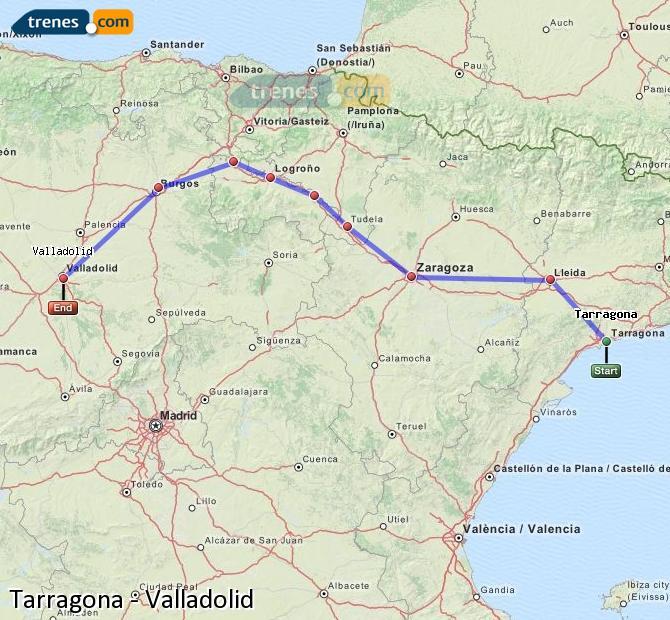 Karte vergrößern Züge Tarragona Valladolid