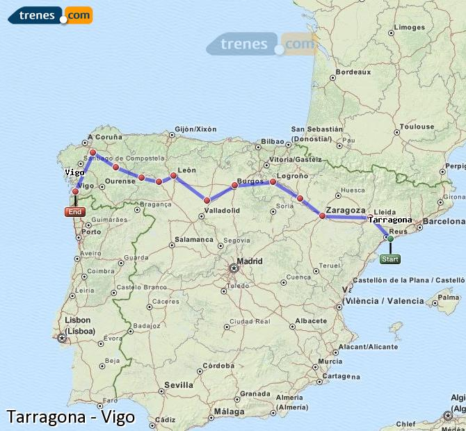 Ampliar mapa Comboios Tarragona Vigo