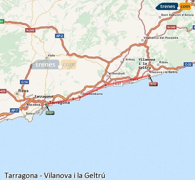 Ampliar mapa Comboios Tarragona Vilanova i la Geltrú