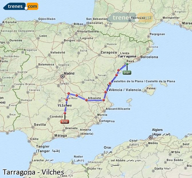 Enlarge map Trains Tarragona to Vilches