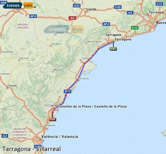 Ampliar mapa Trenes Tarragona Villarreal