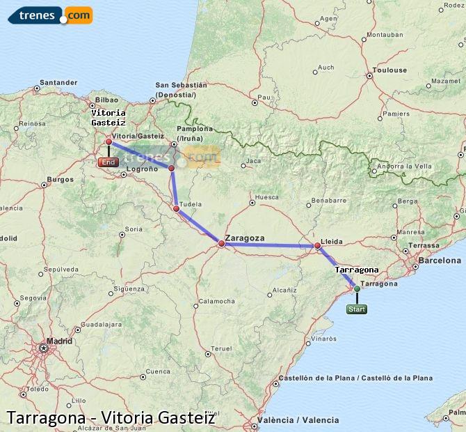 Karte vergrößern Züge Tarragona Vitoria Gasteiz