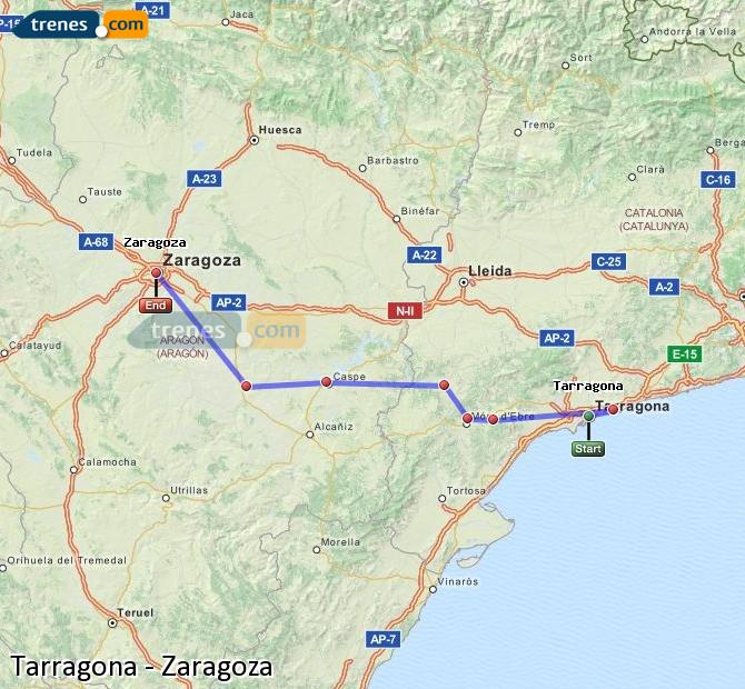 Enlarge map Trains Tarragona to Zaragoza