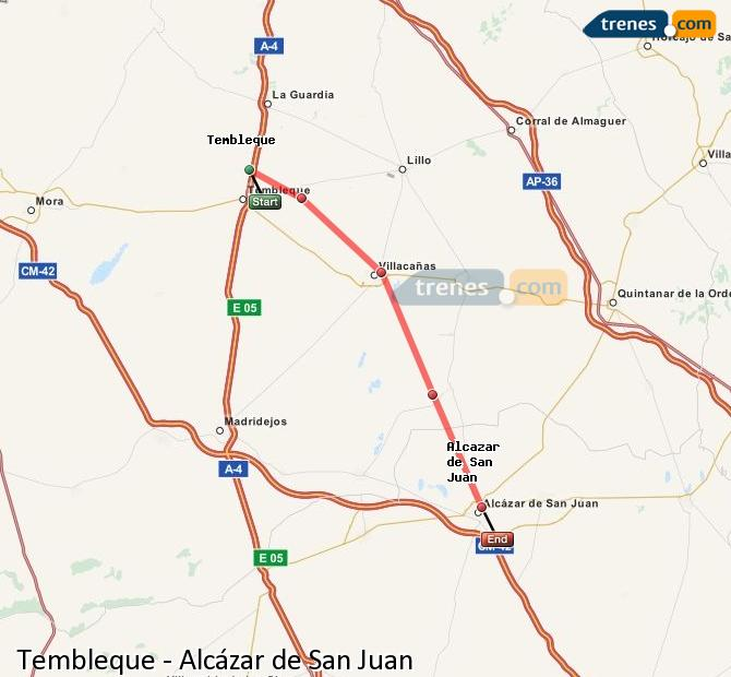 Enlarge map Trains Tembleque to Alcazar de San Juan