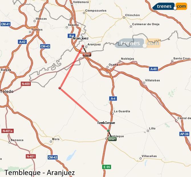 Enlarge map Trains Tembleque to Aranjuez