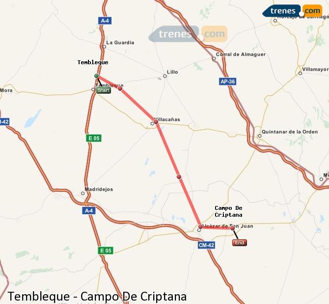 Ampliar mapa Trenes Tembleque Campo De Criptana