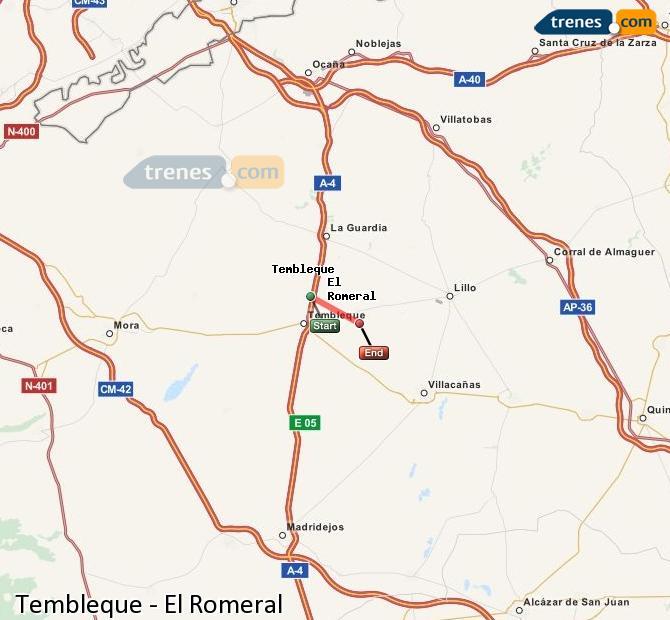 Enlarge map Trains Tembleque to El Romeral