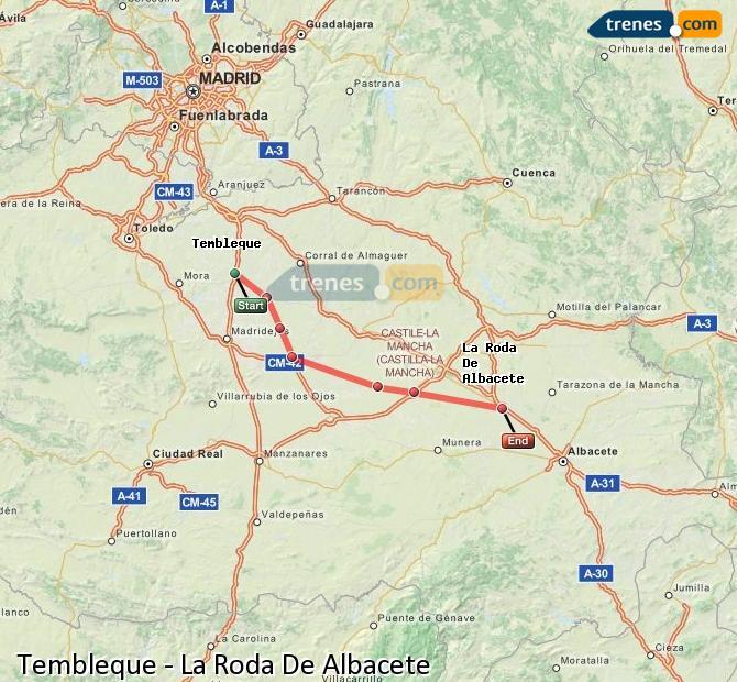 Enlarge map Trains Tembleque to La Roda De Albacete