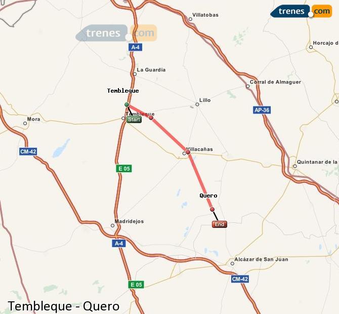 Enlarge map Trains Tembleque to Quero